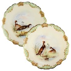 Pair (2) Antique Hand Painted Limoges Cabinet Plates, Game Hens, Raised Gold Enamel Encrusted