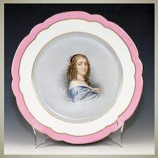 """Antique Old Paris Portrait Plate, Anne """"Ninon"""" de L'Enclos (1620-1705),"""