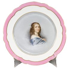 "Antique Old Paris Portrait Plate, Anne ""Ninon"" de L'Enclos (1620-1705),"