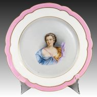 Antique Old Paris Portrait Plate, Duchesse de Chateauroux (1717-1744) Mistress of Louis XV