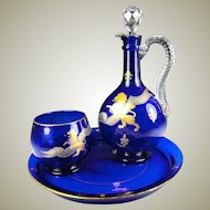Antique French Cobalt Glass Absinthe Service or Bonne Nuit Service, Decanter, Lion Passant