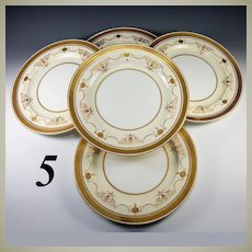 Antique Minton Dinner Plates, c. 1891-1912, Set of 5 Dinner Plates, Raised & Encrusted Gold G6180