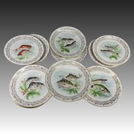 "Antique to Vintage Haviland Limoges Set of 11 Transfer & Painted Fish Plates, 8.5"""