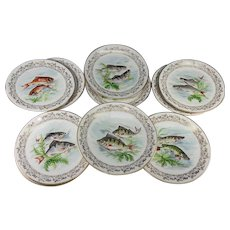 Antique to Vintage Haviland Limoges Set of 11 Transfer & Painted Fish Plates, 8.5""