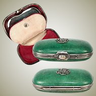 Antique 19th C. French Shagreen Coin Purse with Mirror - Excellent Condition