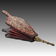"Antique French Fireplace Bellows (Souflet) in fine Napoleon III Boulle Marquetry, 16.5"" Long"