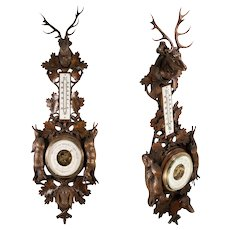 "Antique Black Forest Hand Carved Fruits of the Hunt Theme Barometer, Stag, Dog, Fox, Hare, 31"" High"