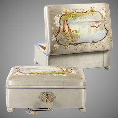 Lovely Antique Silk Covered Chocolatier's Box, Bonbon Casket, Hand Painted Scene