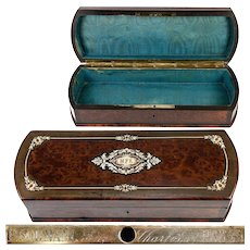 Antique French Napoleon III Marquetry Jewelry or Gloves Box, Paul SORMANI Lock Plate, c.1840-70
