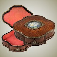 Antique French c.1850s Jewelry Box, Chest, Casket or Coffret,  Hand Painted Flowers Mounted on Top