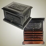 Huge Antique French Cigar Serving Chest, Box, Tantalus, Hunt Theme Plaques (4)