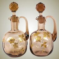 Antique Pair (2) Raised Gold Enamel on Blown Glass Decanters, Napoleon III Era, (late Victorian)