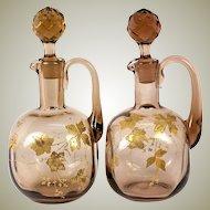 Antique Pair (2) Raised Gold Enamel on Blown Glass Decanters, Napoleon III Era, (late Victorian)