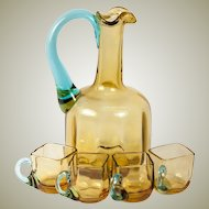 Antique French Liqueur Decanter and 4 Cordial Cups, Napoleon III (Late Victorian), George Sand Glass
