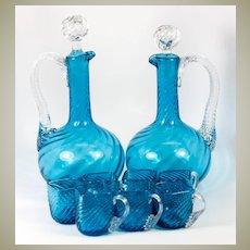 Antique French Liqueur Service, 2 Decanters, 7 Cups, Electric Blue Art Glass, Napoleon III c.1870s
