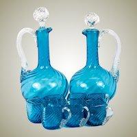 Antique French Liqueur Service, 2 Decanters, 7 Cups, Electric Blue Art Glass, Napoleon III c.1870s