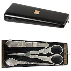 Fine Antique French Sterling Silver Sewing Set, Etui, Scissors, Needle Case, Stiletto, c.1838