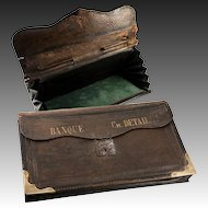 "Antique 14"" French Leather Pleated Bank Pouch or Folio, c.1850s, Brass Trim, ""Banque Ch. Detaille"""