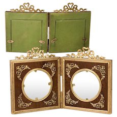 Antique French Dore Bronze Applique & Bow Top Double Frame, Wood Mat