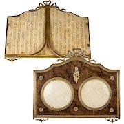 Antique French Dore Bronze Applique & Bow Top Double Frame, Wood Mat #2
