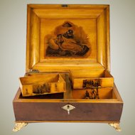 Antique c. 1790 - 1810 French Empire Gaming or Game Box, Coffret, Gambler's Chest, Chips