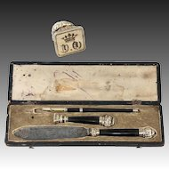 Antique c.1830s French Writer's Set in Etui, Pen, Wax Seal w Crown Monogram, Letter Opener