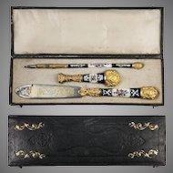 Antique French Kiln-fired Enamel Pen Set, French Writer's Gift Set, c.1800, Seal, Letter Opener