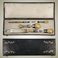 Antique French Kiln-fired Enamel Pen Set, French Writer's Gift Set, c.1800, Seal, Letter Opener