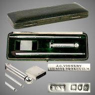 Antique English Sterling Silver Writing Set, Pen, Pencil, Seal, Stamps Case, VICKERY, Regent St. London