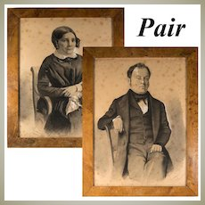"Pair: Antique French Portraits, Drawing, Signed by Artist, Brossard (?) c. 1848,  in Frame 15.5"" x 12"""