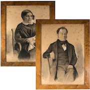 """Pair: Antique French Portraits, Drawing, Signed by Artist, Brossard (?) c. 1848,  in Frame 15.5"""" x 12"""""""