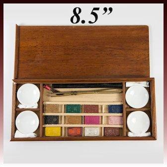 Antique French Watercolor Paint Box, 12 Unused Aquarelle Paint Blocks, 4 Ceramic Pots, Wood