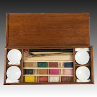 Antique French Watercolor Paint Box, 12 Unused Aquarelle Paint Blocks, 4 Ceramic Pots, Wood