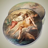 Superb 1700s French Hand Painted Snuff Box, Romantic, Vernis Martin Manner