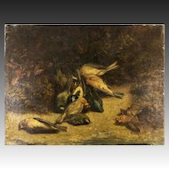 """Antique 1812 French Oil Painting, Nature Morte, Fruits of the Hunt, Birds, 21.75"""" x 16.5"""" No Frame, Artist Signed"""