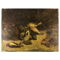"Antique 1812 French Oil Painting, Nature Morte, Fruits of the Hunt, Birds, 21.75"" x 16.5"" No Frame, Artist Signed"