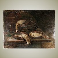 Superb 19th c. Antique French Oil Painting, Nature Morte Still Life with Birds, Kitchen, Fruits of the Hunt