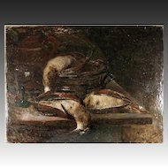 Superb 19th c. Antique French Oil Painting, Nature Morte Still Life with Birds, Kitchen