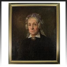 Antique French Oil Painting, Portrait of a Woman, c.1881, Signed WAGREZ, Listed Artist, in Frame, Micromosaic