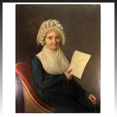 """Huge Antique French Oil Painting, Portrait in 1803 of Dame Marie-Louise Boucher, Boutron, School of DAVID, 36.5"""" x 29"""""""