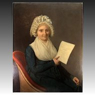 "Huge Antique French Oil Painting, Portrait in 1803 of Dame Marie-Louise Boucher, Boutron, School of DAVID, 36.5"" x 29"""