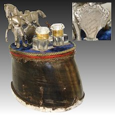Antique Victorian Era Double Inkwell, Equestrian Horse Hoof, Knight & Horse with 1884-85 Trophy Inscription