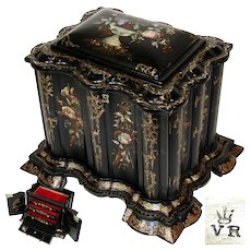 """RARE LG Antique English Victorian Era Papier Mache 14"""" Chest, Jewelry or Stationery with Writing Slope or Lap Desk, Ornate Pearl Inlay"""