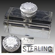 "Elegant Large Antique Gorham Sterling Silver & Cut Crystal 5"" Inkwell, Etched Garland"
