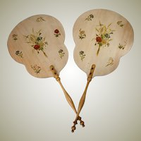 Antique French Pair Victorian Era Face Screens. Florals on Wood, Turned Wood Handles