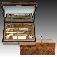 Antique c. 1700s French Sewing Box, Implements with 18k Gold, Palais Royal Set, Thimble, Scissors, Needle Case, Crochet Tambour, etc.,