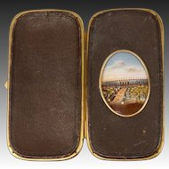 Antique French Souvenir Eglomise & Leather Cigar or Spectacles Case, Etui, RARE View 1867 Paris Expo