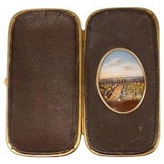 Antique French Souvenir Eglomise & Leather Cigar or Spectacles Case, Etui, RARE View 1867 Paris Expo