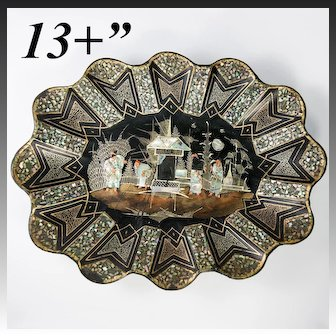 """Huge 13.25"""" x 10""""  French Papier Mache & Mother of Pearl Inlay Tray, Bowl, Centerpiece"""