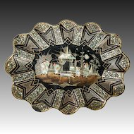 "Huge 13.25"" x 10""  French Papier Mache & Mother of Pearl Inlay Tray, Bowl, Centerpiece"